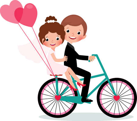 Couple of happy newlyweds bride and groom rides a bike embracing each other. Vector illustration on white background Illustration