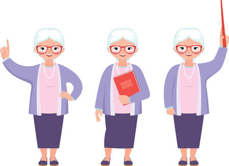 Vector illustration of a senior cute teacher different gestures and poses