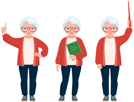 Vector cartoon illustration of a senior cute teacher different gestures and poses Illustration