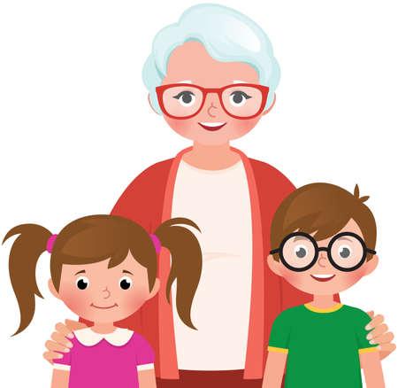 Grandmother hugs her grandchildren vector illustration Illustration