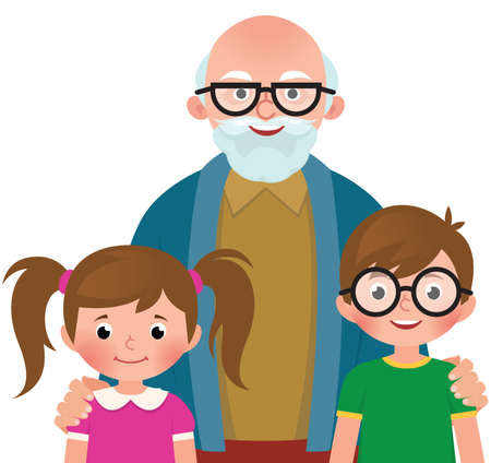 Grandfather hugs her grandchildren vector illustration
