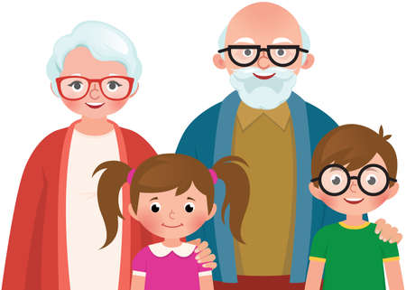 Grandmother and grandfather hugs their grandchildren vector illustration