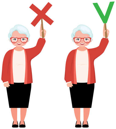 Vector illustration elderly woman teacher holds in her hands signs true and false