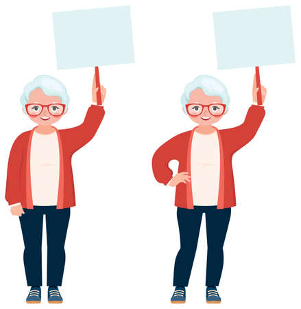 Elderly woman in casual clothes holding a blank form in her hands vector illustration