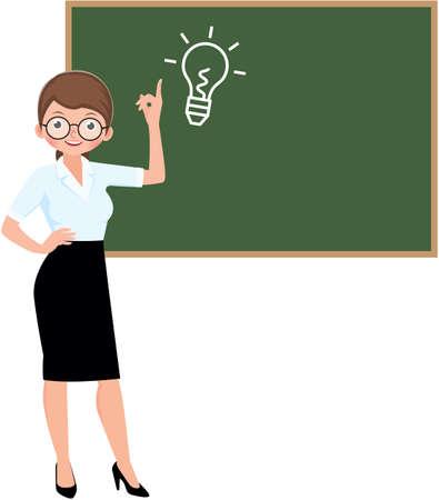 Cartoon character vector woman teacher standing at the blackboard Vector Illustration