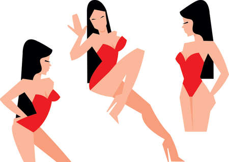 Silhouette of show girl in combo in poses abstract flat illustration