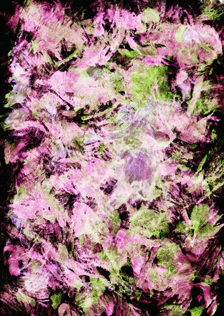 Hand drawn abstract iimpressionistic artwork in acrylic and watercolor paints style with pink, light green and red spots, blots, fading