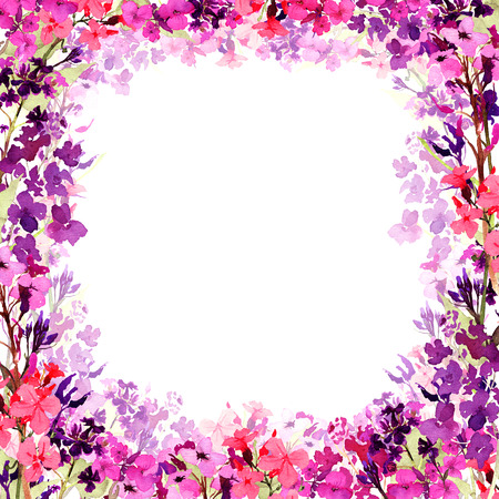 Hand drawn watercolor square frame with meadow small bright pink, lilac and violet flowers and translucent flower layer on white background. Design for cards, invitations, flyers. Stock fotó - 115546671