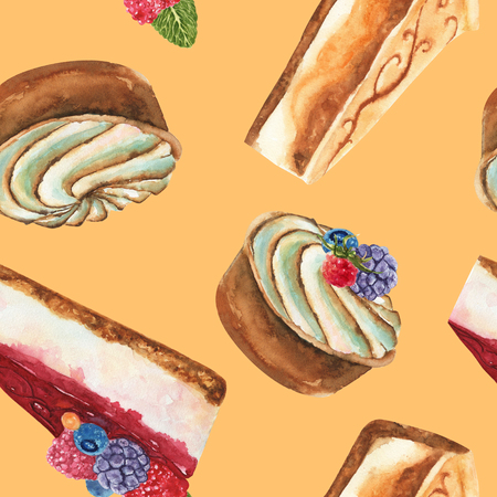 Hand drawn watercolor pattern seamless with piece of cheesecake, cream tart cake and cheesecake with fresh wild berries on yellow background