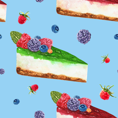Hand drawn watercolor pattern seamless with piece of cheesecake with fresh wild berries on blue background