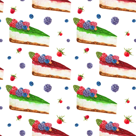 Hand drawn watercolor pattern seamless with piece of cheesecake with wild berries on white background