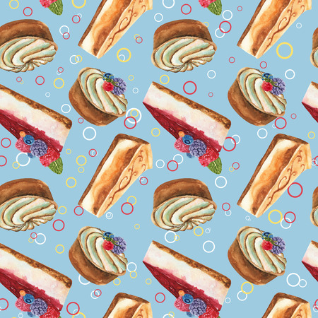 Hand drawn watercolor pattern seamless with piece of cheesecake, cream tart cake and cheesecake with fresh wild berries and color circles on blue background