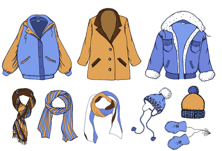 Hand drawn elements set with coat, jacket, scarf and caps. Vecteurs