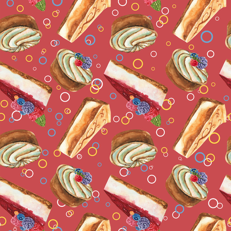 Hand drawn watercolor pattern seamless with piece of cheesecake, cream tart cake and cheesecake with fresh wild berries and color circles on red background