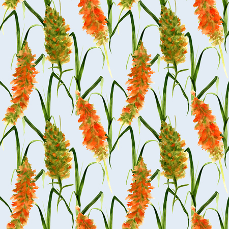 Hand drawn seamless pattern with wild watercolor yellow flowers, herbs and grasses.