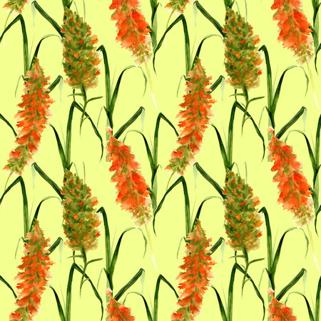 Hand drawn seamless pattern with wild meadow watercolor yellow and green flowers, herbs and grasses on a lime background Stock Photo