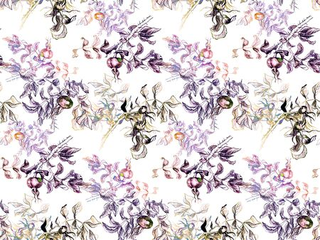 Hand drawn seamless pattern with colored dog rose