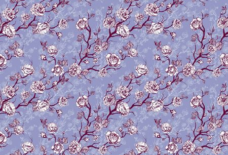 Hand drawn graphic floral pattern with pink roses and leaf on color background Stock fotó