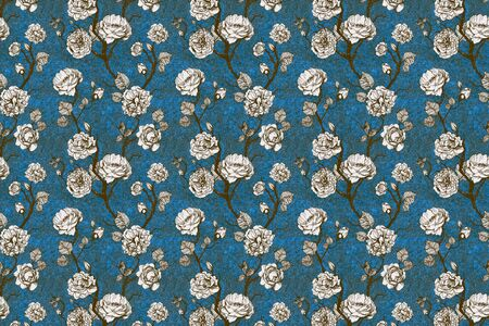 Hand drawn graphic floral pattern with roses and leaf on blue texture background Foto de archivo - 133421917