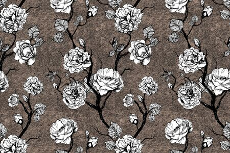 Hand drawn graphic floral pattern with roses and leaf. Black and white wallpaper on texture background Stock fotó