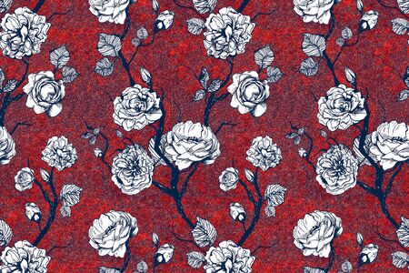 Hand drawn graphic floral pattern with roses and leaf. Black and white wallpaper on red texture background
