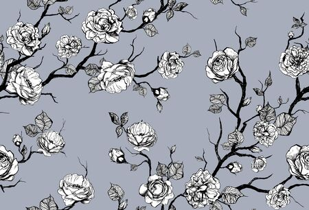 Hand drawn graphic floral pattern with roses and leaf. Black and white wallpaper on color background