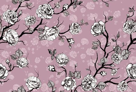 Hand drawn graphic floral pattern with roses and leaf