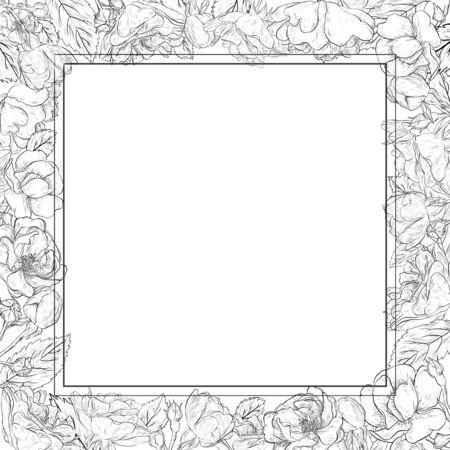 Square romantic frame with hand drawn floral element. Black and white Banque d'images - 138225942