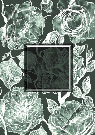 Hand drawn floral vertical template with graphic detailed roses flowers