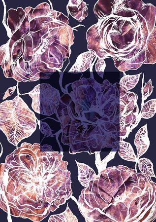 Hand drawn floral vertical template with graphic detailed roses flowers Stock fotó - 138375222