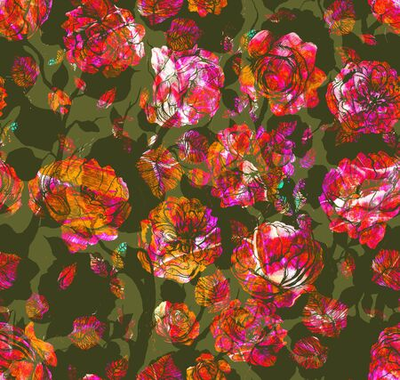 Abstract hand drawn graphic floral pattern with roses and leaf. Texture of metal, gold and bronze