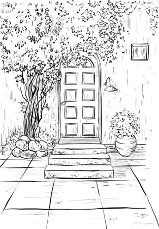 Coloring page book for adult and children with rural exterior