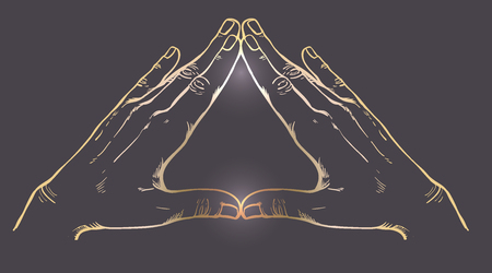 Menselijke handen maken driehoeksvorm. Vector illustratie. Illuminati-teken. Heilige geometrie. Religie, spiritualiteit, occultisme.