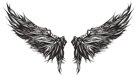 Magnificent wingspan of fantasy demon or monster. Sketch for tattoo, hipster t-shirt design, vintage style posters. Coloring book for kids and adults.