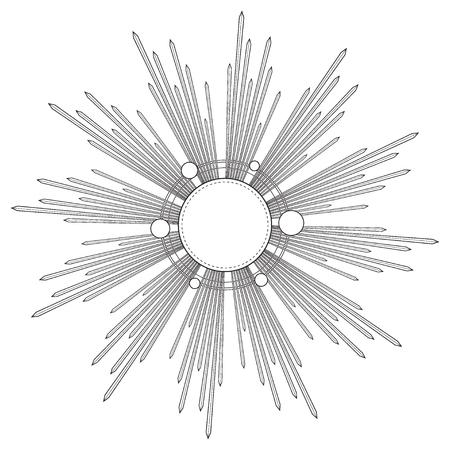 Raggi di luce come aureola. Illustrazione vettoriale disegnata a mano isolato su bianco in stile vintage inciso. Modello di tatuaggio di arte di linea. Elemento scrapbook. Simbolo di orgoglio e gloria e di luce divina