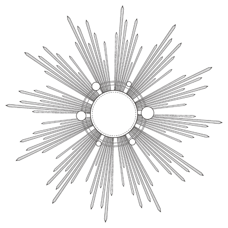 Stralen van licht als een halo. Hand getrokken vectorillustratie geïsoleerd op wit in vintage gegraveerde stijl. Lijn kunst tattoo sjabloon. Scrapbook element. Symbool van trots en glorie en goddelijk licht