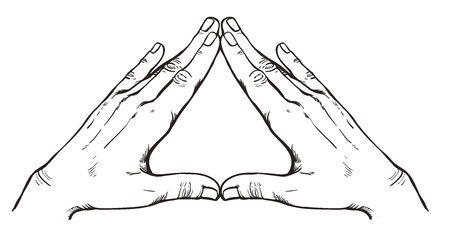 occultism: Human hands make triangle shape isolate on white background. Illuminati sign. Vector Sacred geometry. Religion, spirituality, occultism, science, alchemy magic. Coloring book for kids and adults. Illustration