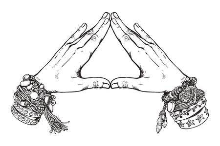 Human hands make triangle shape isolate on white background.Illuminati sign. Illustration