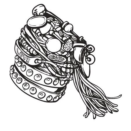 Ensemble de bracelets hippie amitié. Illustration vectorielle Accessoires avec des gemmes, des glands. Style boho vintage, sixties. Détails. Mode estivale jeunesse, ambiance bohème et hippie.
