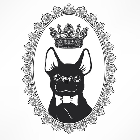 Cute and funny cartoon puppy French Bulldog with bow-tie and crown. Vector illustration for sticker, patch or as a print. Hand drawn elements for congratulation. Hipster insignia in comic style