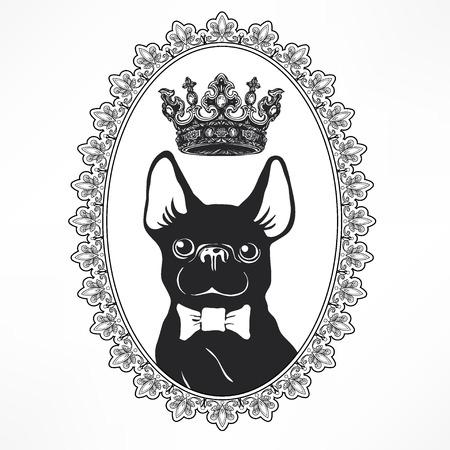Nette und lustige Karikatur Welpen Französische Bulldogge mit Fliege und Krone. Vektor-Illustration für Aufkleber, Patch oder als Druck. Handgezeichnete Elemente für die Glückwünsche. Hipster-Insignien im Comic-Stil Standard-Bild - 82336370