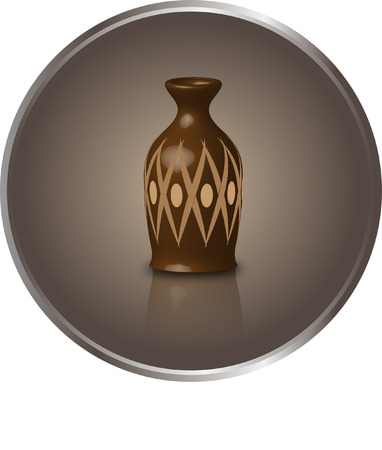 Ancient vase on a round background color of cocoa Stock Vector - 24058043