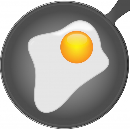 coating: Appetizing fried in a pan with non-stick coating Illustration