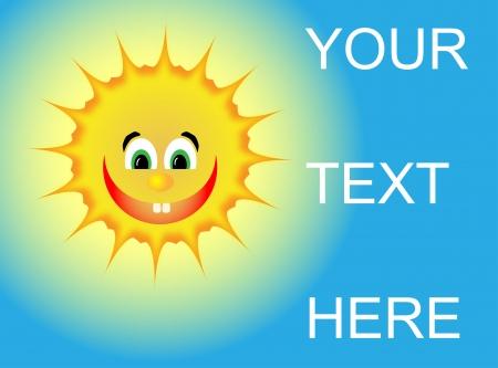 Positive sun with a big smile and a bulbous nose Ilustração