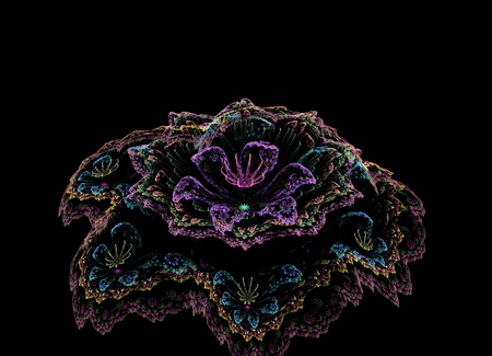 drooping: fractal flower on black background neon colors with drooping petals Stock Photo