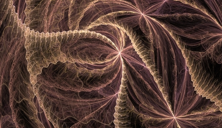 chaotic brown and pink lines on a black background in different directions intersecting fractal Stock Photo