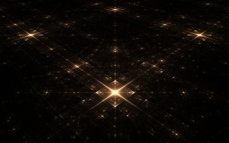 darkness: fractal stellar surface in the darkness of the dark space on an imaginary plane with big and small chetyr hkonechnymi stars in luminous squares arranged symmetrically. Stock Photo