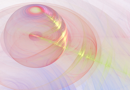 transparent globe: pink transparent globe on a light background of chaotic lines with a yellow beam and glare from the ray