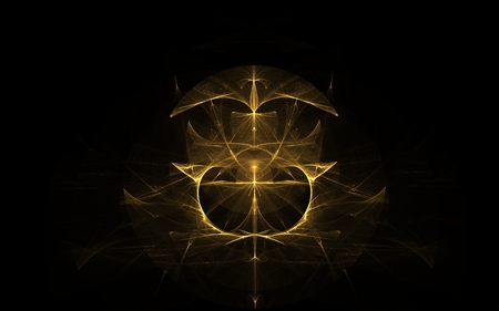looking down: fractal golden coat of arms of abstract lines on a black background with kokp m looking down and two spearheads looking up