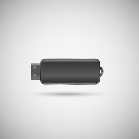 streamlined: gray USB flash drive with a glare and shadow on white gradient background